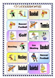English Worksheet: Sports Domino Game