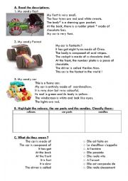 English Worksheet: Candy cars