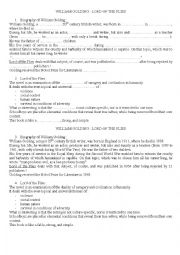 English Worksheet: Lord of the Flies and William Golding