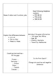 English Worksheet: A1+ cards vocabulary and grammar