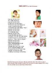 English Worksheet: SOMEONE ATE THE BABY ( a poem)