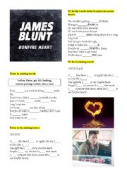 English Worksheet: James Blunt �Bonfire heart�