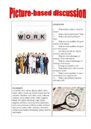 English Worksheet: Picture-based discussion jobs