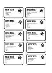 English Worksheet: Movie Trivia Card Game