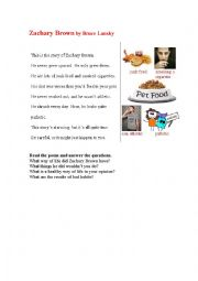 English Worksheet: UNHEALTHY WAY OF LIFE (a poem)