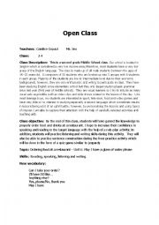 English Worksheet: Ordering food