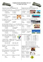 Vocabulary Quiz for Language Reader Int Unit-1,2,3