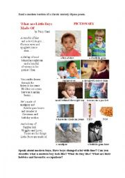 English Worksheet: What are Little Boys Made of? (a poem + a pictionary)