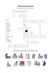 English Worksheet: Job and workplace puzzle