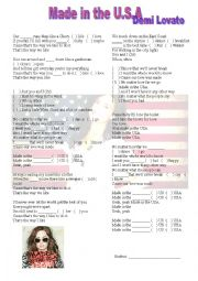 English Worksheet: Made in the U,S.A - Demi Lovato