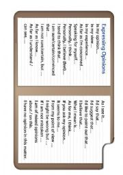 English Worksheet: Phrasal verbs and expressing opinions