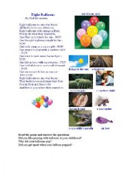 English Worksheet: 8 BALOONS (a poem + a pictionary)