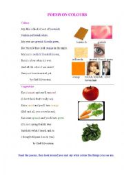 English Worksheet: TWO POEMS ON COLOURS