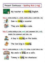 english worksheets present continuous spelling rules. Black Bedroom Furniture Sets. Home Design Ideas