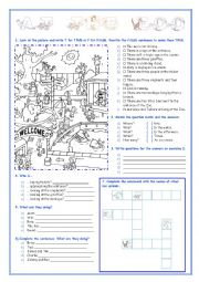 English Worksheet: At the Zoo - There Is, There Are, To Be and so on...