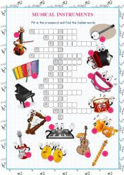 Musical Instruments Crossword Puzzle