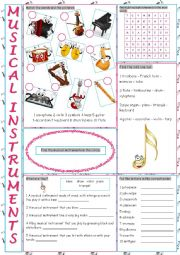 English Worksheet: Musical Instruments Vocabulary Exercises