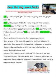 English Worksheet: Sam the dog saves Nicky