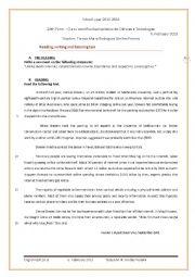 English Worksheet: English test  - 10th form