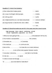 English Worksheet:           Sign language - Have- airport - swimming - e-mail           - made - ingredients - population - as - mined