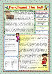 English Worksheet: Ferdinand, the bull