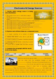 English Worksheet: ELECTRONICS AND ENERGY SOURCES