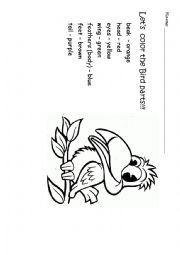 English Worksheet: Bird to color