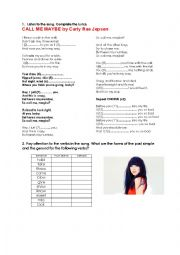 Song Worksheet: Call me Maybe (past simple and continuous)