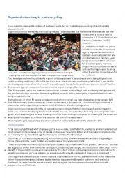English Worksheet: Organised Crime Targets Waste Recycling
