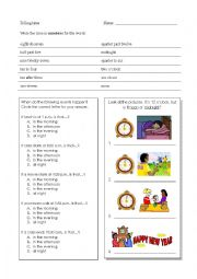 English Worksheet: Telling Time Review (words to numbers, noon/midnight, in the morning/afternoon, at night)