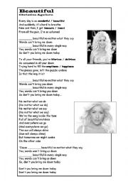 English Worksheet: Christina Aguilera - Beautiful