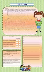 English Worksheet: Recycle