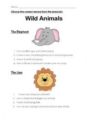 English Worksheet: Wild Animals (Adjectives)