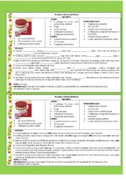 English Worksheet: STRAWBERRY CHEESECAKE RECIPE