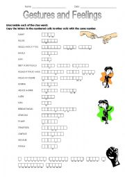English Worksheet: Unscramble the words - gestures and feelings (keys included)