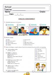English Worksheet: Assessment Greetings