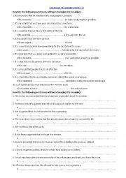English Worksheet: Exercise on Subjunctive (1)