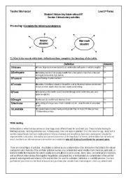 English Worksheet: NATURAL versus MAN MADE DISASTERS Module6 Section 3rd year  Tunisian pupils