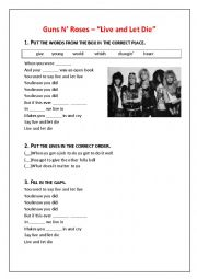 "English Worksheet: Guns N' Roses – ""Live and Let Die"" lyrics worksheet"
