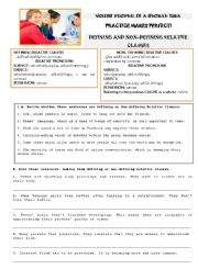 English Worksheet: YOUNG PEOPLE IN A GLOBAL ERA- DEFINING AND NON-DEFINING RELATIVE CLAUSES