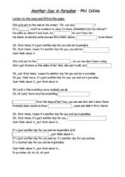 English Worksheet: Another Day in Paradise - fill in the gaps