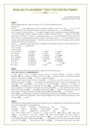 English worksheet: PLACEMENT TEST FOR RECRUITMENT
