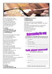 English Worksheet: I won´t give up