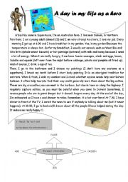 English Worksheet: A day in my life as an Australian hero A1-A2 Reading