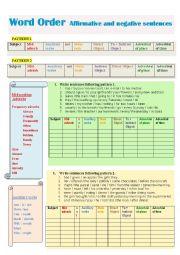 English Worksheet: Word order affirmative and negative sentences