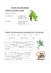 English Worksheet: The ant and the cricket