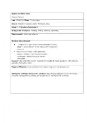 English Worksheet: lesson plan on who is and who are