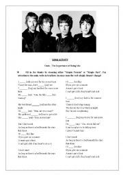 English Worksheet: The Importance of Being Idle by Oasis