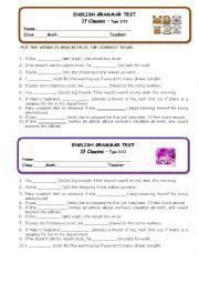 English Worksheet:  If Clauses I/II - Mini Test