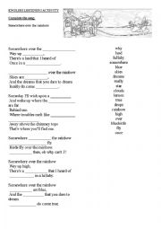 English Worksheet: Complete the song (Somewhere over the rainbow)